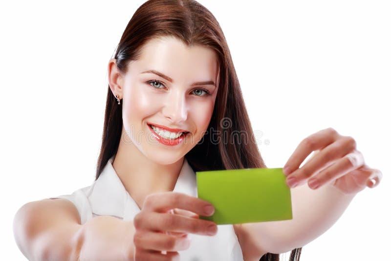De vrouw houdt kaart royalty-vrije stock afbeelding
