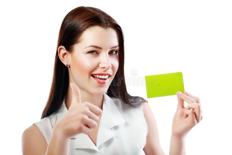 De vrouw houdt kaart stock foto's