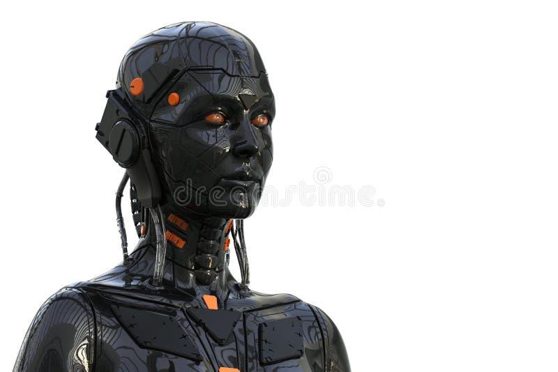 De Vrouw Humanoid van robotandroid - die op witte achtergrond wordt ge?soleerd stock illustratie