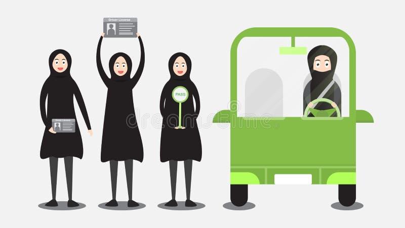 De vrouw kan een auto in Saudi-Arabië op de wolk drijven Arabisch volwassen g stock illustratie