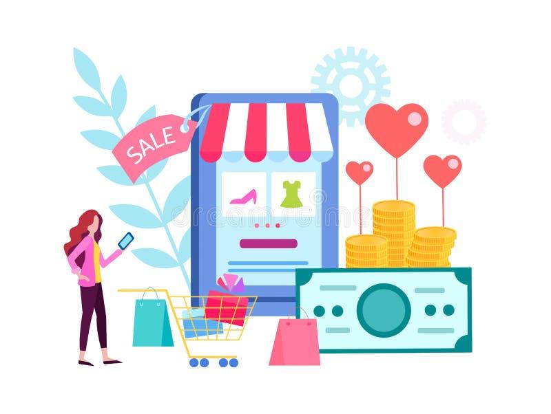 De vrouw kiest giften in de online opslag, online winkelend, winkelend op de dag van Valentine, verkoop voor de vakantie stock illustratie