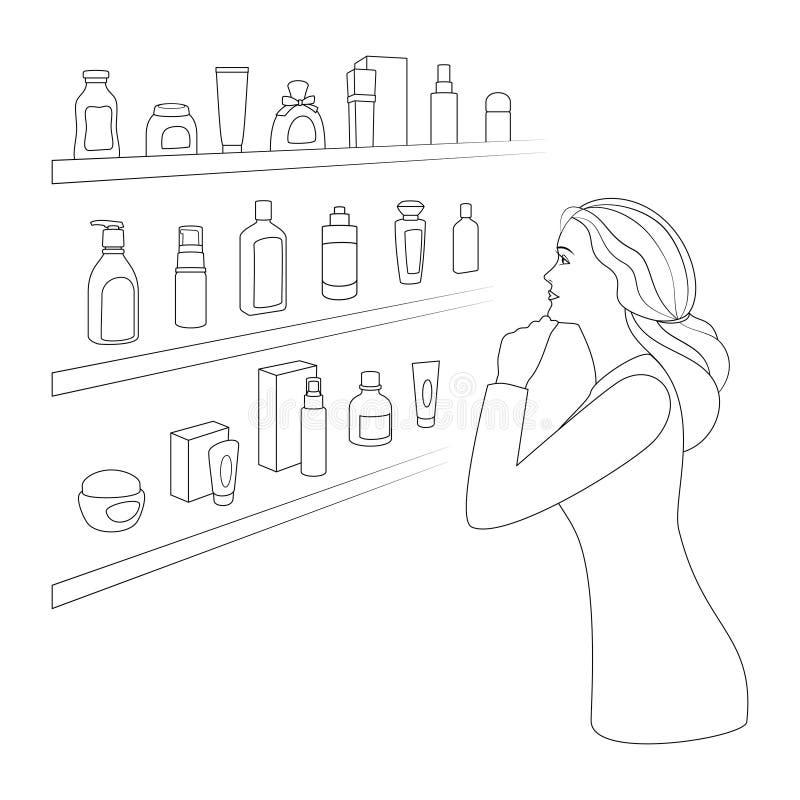 De vrouw kiest schoonheidsmiddelen en parfumerie stock illustratie