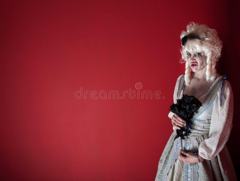 De vrouw kleedde zich als Marie Antoinette stock afbeelding