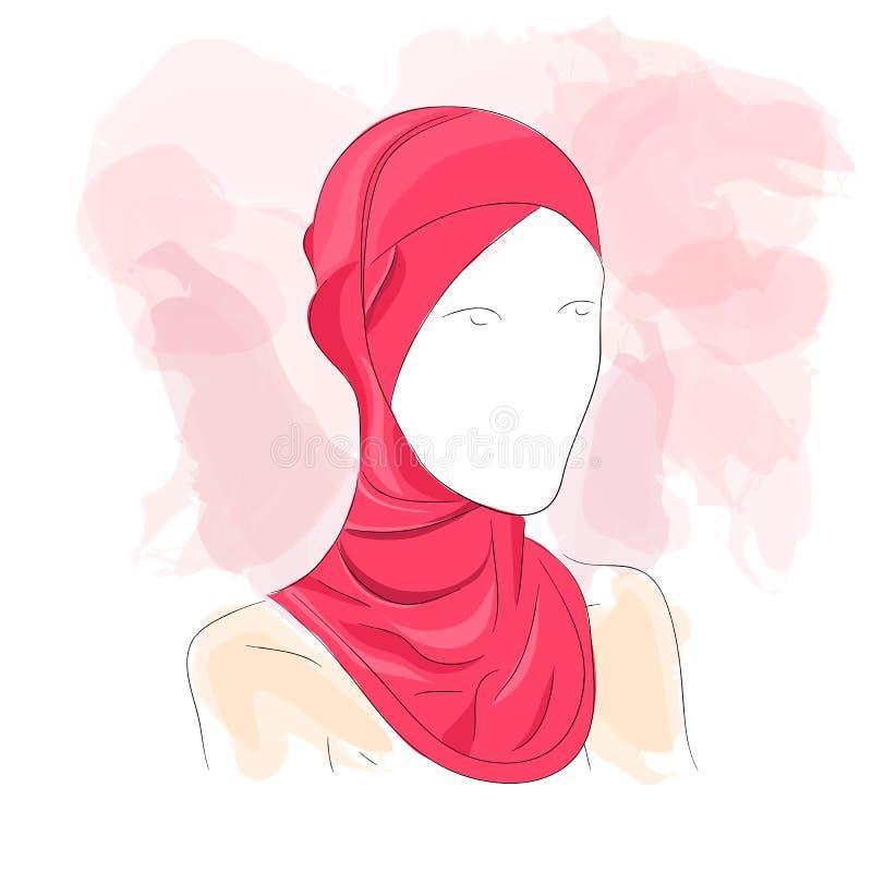 De vrouw kleedde zich in gekleurd hijab royalty-vrije illustratie