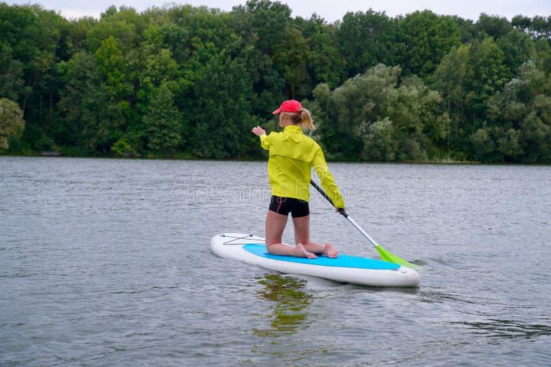 De vrouw knielt op een surfplank en houdt een peddel Achtermeningsfoto stock foto's