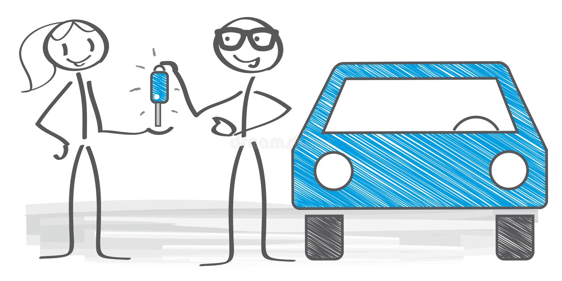 De vrouw koopt een auto vector illustratie