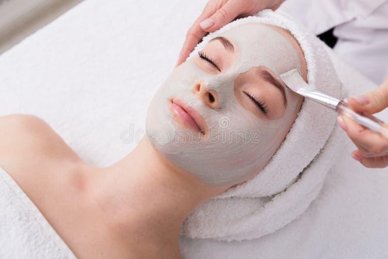 De vrouw krijgt gezichtsmasker door schoonheidsspecialist bij kuuroord royalty-vrije stock afbeelding