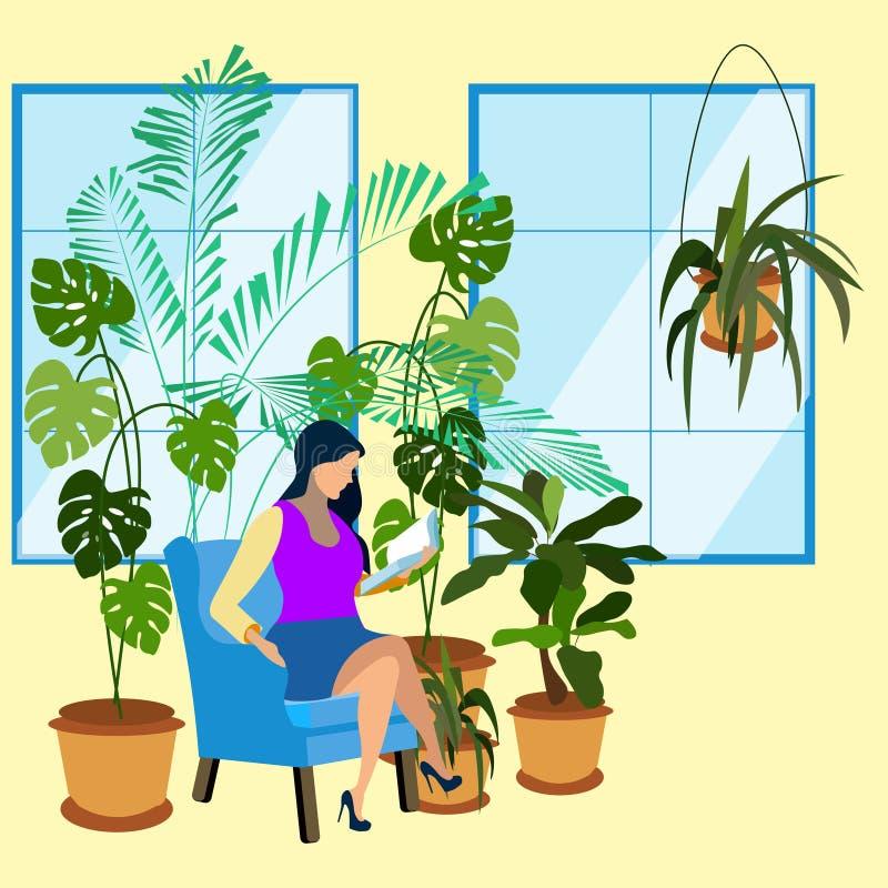 De vrouw leest een boek in tuin Botanische installaties In minimalistische stijl Vlakke isometrische vector vector illustratie