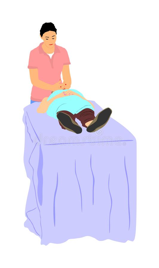 De vrouw ligt op een lijst in een schoonheidskuuroord die een behandeling krijgen Gezichtsbehandelingen bij de illustratie van de royalty-vrije illustratie