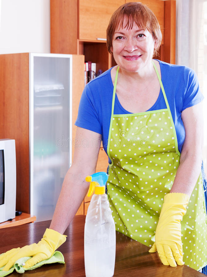 De vrouw maakt het huis schoon royalty-vrije stock fotografie