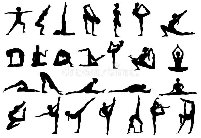 De vrouw maakt yogaoefening Vector Silhouet Vectorbeelden geplaatst inzameling vector illustratie