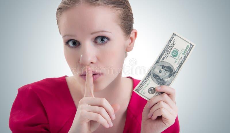 De vrouw met geld, dollars zegt stock foto