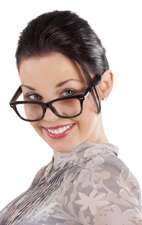 De vrouw met glazen royalty-vrije stock afbeeldingen
