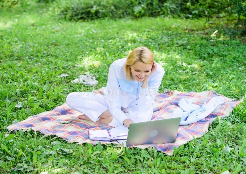 De vrouw met laptop of het notitieboekje zit op weide van het deken de groene gras Het bedrijfsdame freelancer werk in openlucht  stock fotografie