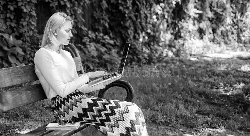 De vrouw met laptop werkt openlucht, groene aardachtergrond Freelance voordelen Dame die freelancer in park werken Het meisje zit stock foto's