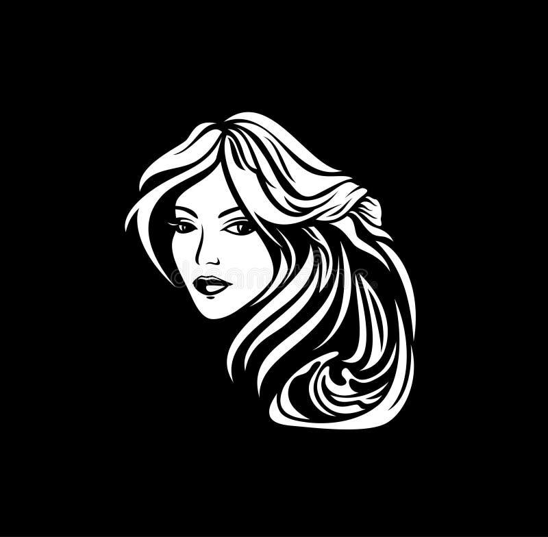 De vrouw met mooi haar krult vectorportret vector illustratie