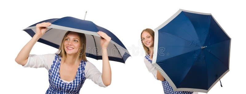 De vrouw met paraplu op wit wordt geïsoleerd dat stock afbeelding