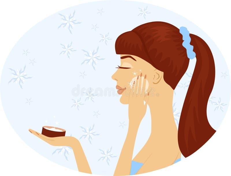 De vrouw met schoonheidsmiddelen vector illustratie