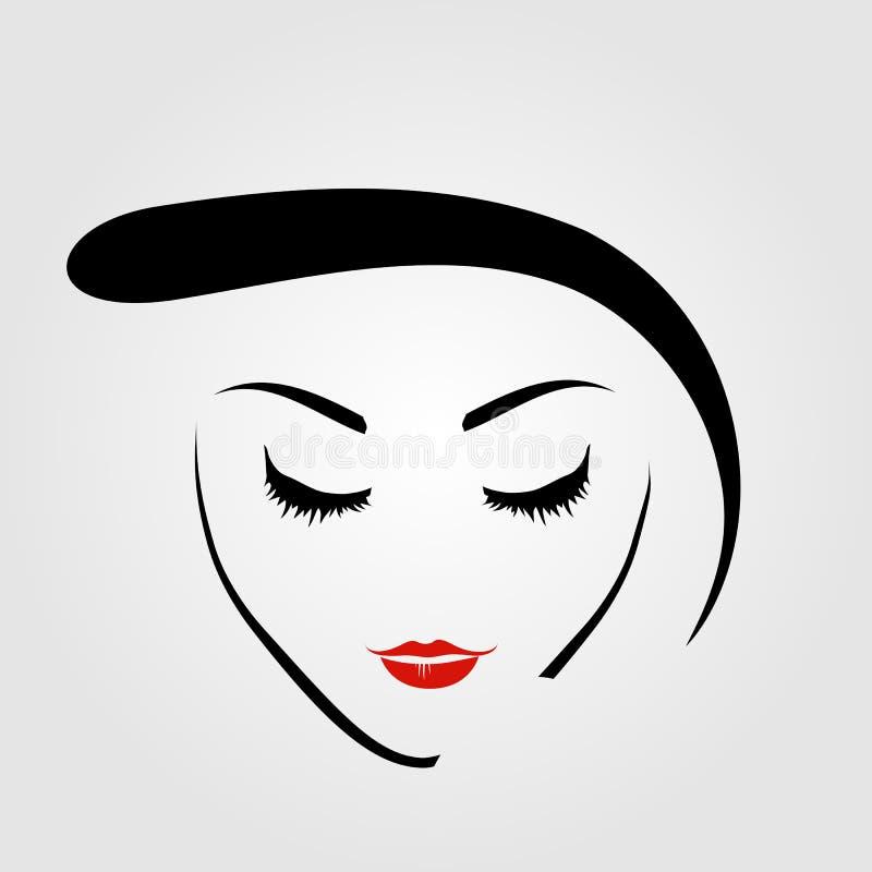 De vrouw met uitstekend kapsel en maakt omhoog royalty-vrije illustratie