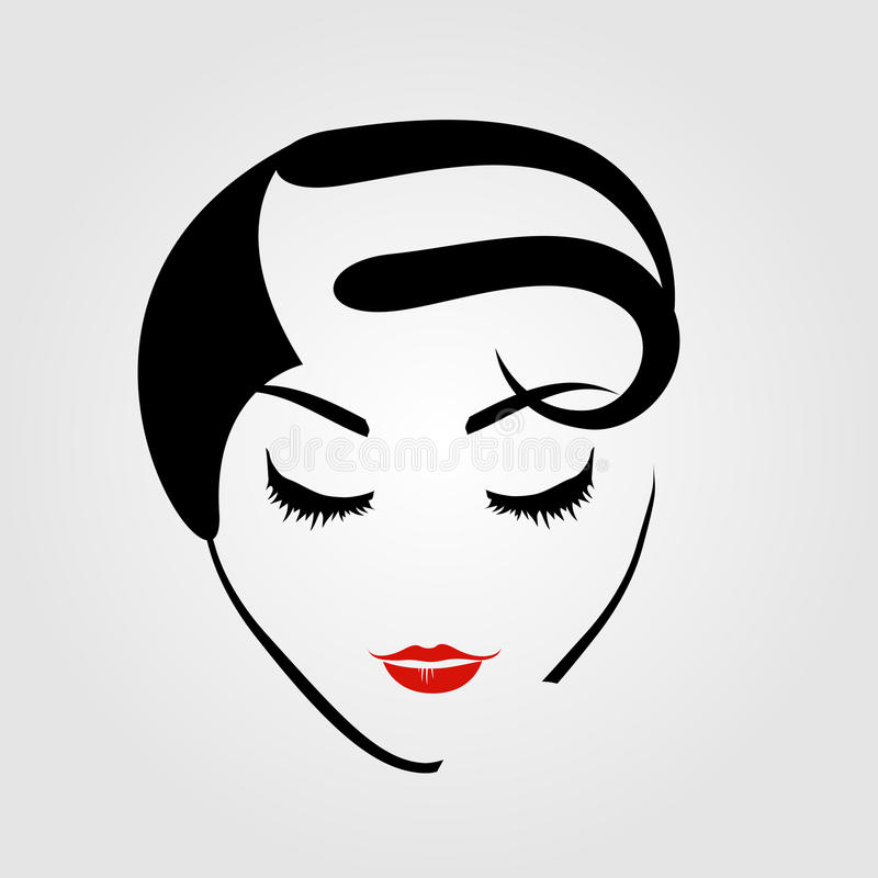 De vrouw met uitstekend kapsel en maakt omhoog vector illustratie