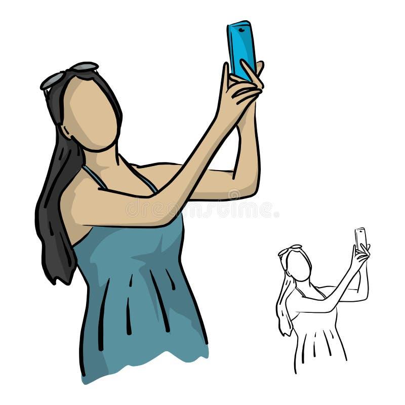 De in vrouw met zonnebril maakt selfie foto vectorillus vector illustratie