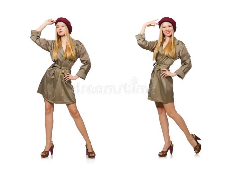De vrouw in militaire die kleding op wit wordt geïsoleerd stock foto's