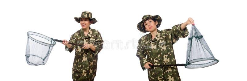 De vrouw in militaire kleding met netto vangen royalty-vrije stock afbeelding