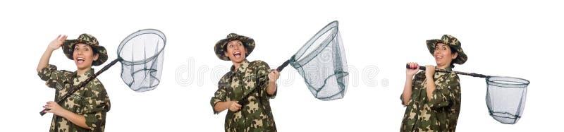De vrouw in militaire kleding met netto vangen royalty-vrije stock foto's