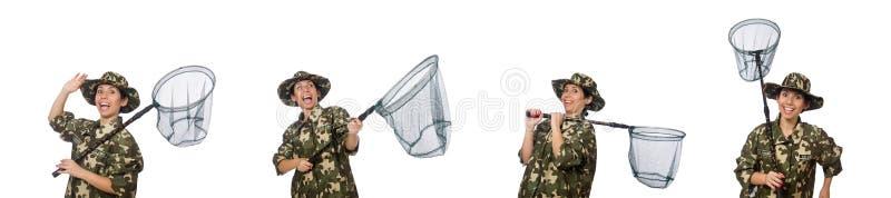 De vrouw in militaire kleding met netto vangen stock afbeeldingen