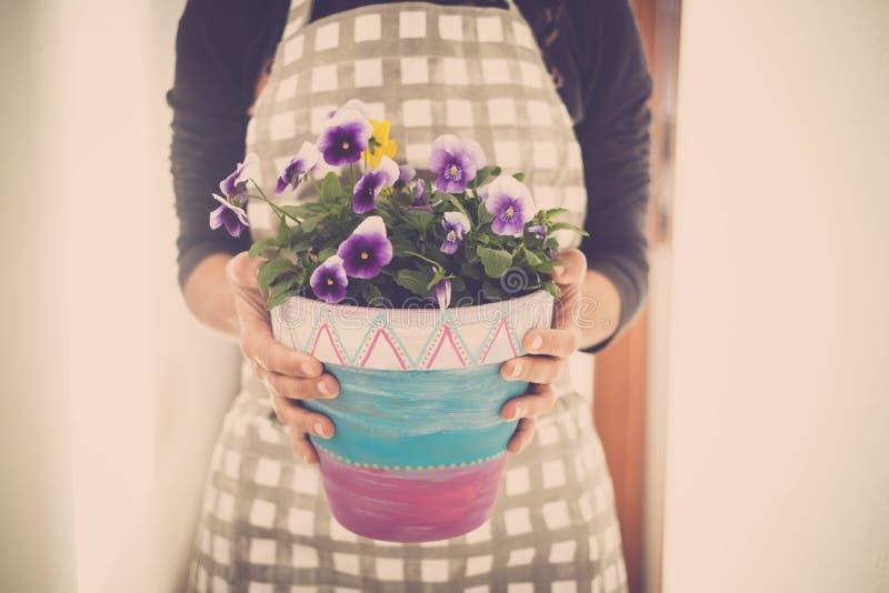 De vrouw neemt een vaas van violette bloemen stock foto