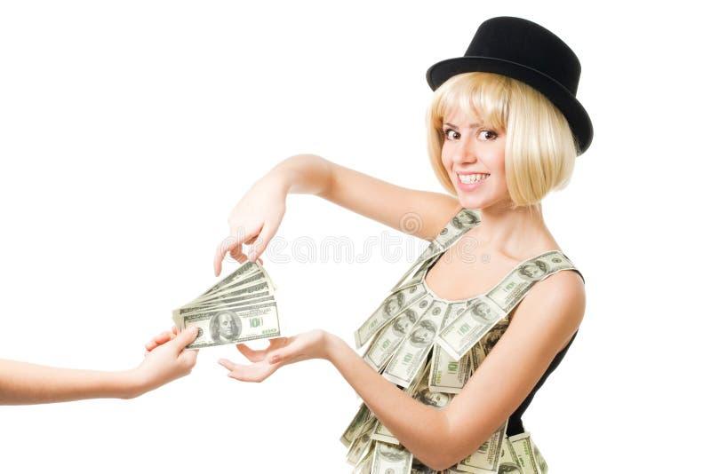 De vrouw neemt geld stock fotografie