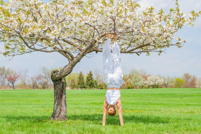 De vrouw oefent yoga uit, doend de oefening van Salamba Sirsasana, zich bevindt in handstand stel dichtbij boom royalty-vrije stock foto