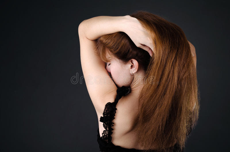 De vrouw in ondergoed stock afbeeldingen