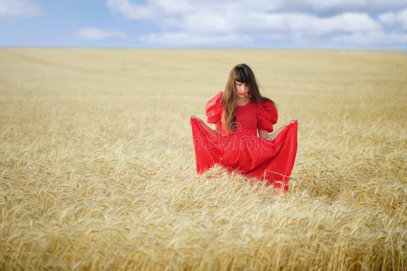 De vrouw op een tarwegebied in een rode lange kleding, houdt in handen royalty-vrije stock afbeelding
