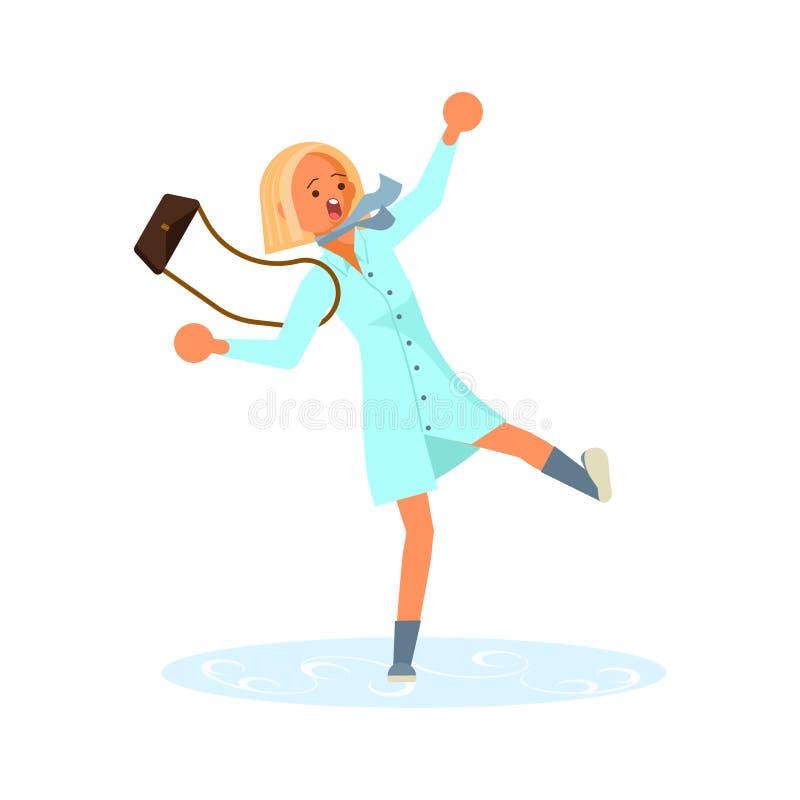 De vrouw op ijzige weg is uitgegleden die stock illustratie