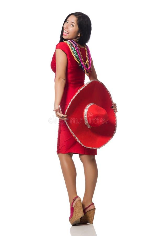 De vrouw in rode kleding met sombrero royalty-vrije stock afbeelding