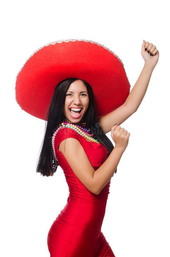 De vrouw in rode kleding met sombrero stock fotografie