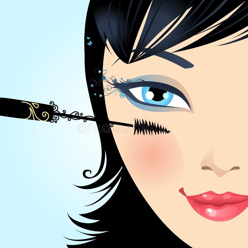 De vrouw schildert de mascara van de wimpersmake-up royalty-vrije illustratie