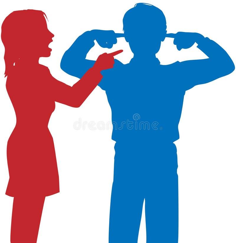 De vrouw schreeuwt de mens luistert vingersoren debatteert stock illustratie