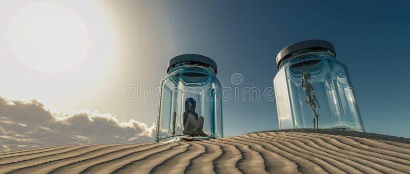 de vrouw sloot in een glasboot in de woestijn stock foto