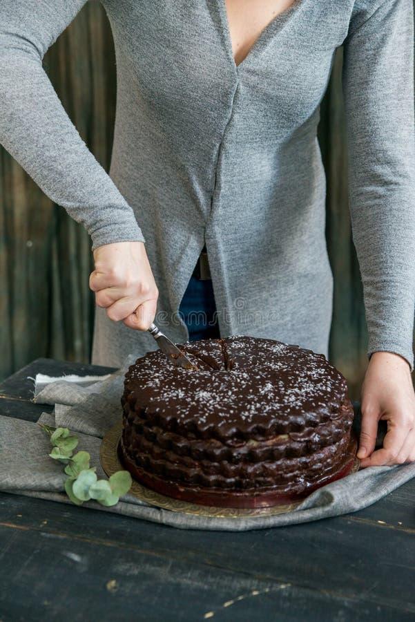 De vrouw snijdt dichte chocoladecake Donkere tonen stock afbeelding