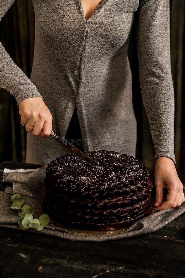 De vrouw snijdt dichte chocoladecake Donkere tonen stock afbeeldingen