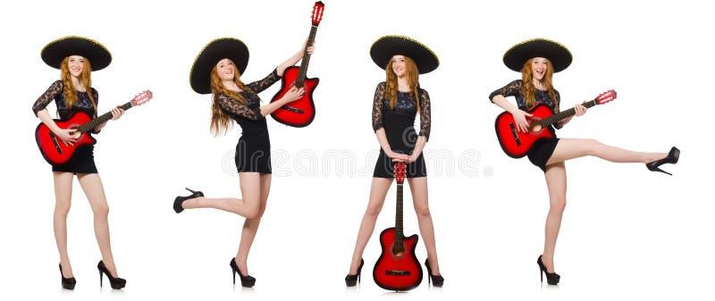 De vrouw in sombrerohoed met gitaar royalty-vrije stock foto