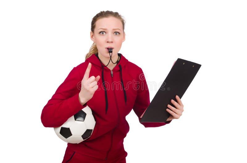 De vrouw in sportenconcept op wit wordt geïsoleerd dat stock fotografie