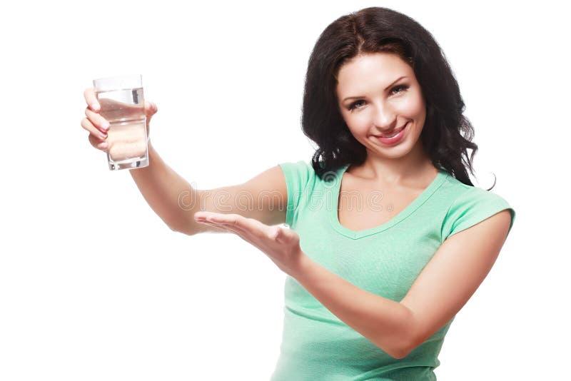 De vrouw toont glas royalty-vrije stock foto's