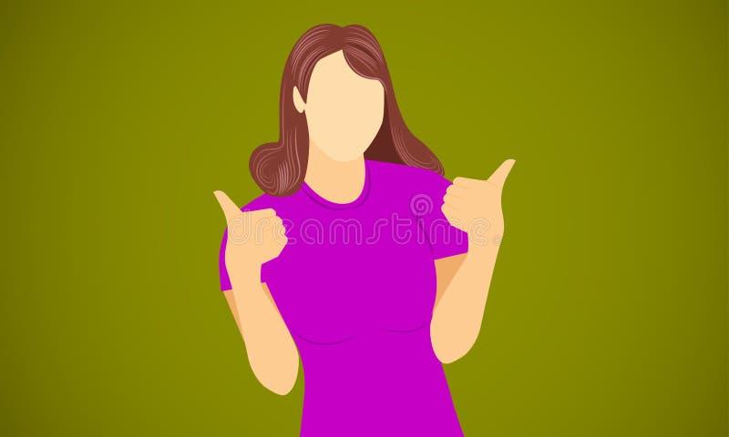 De vrouw toont hand als voor gelukwens tevreden gelukkige blije vectorillustratie eps10 stock illustratie