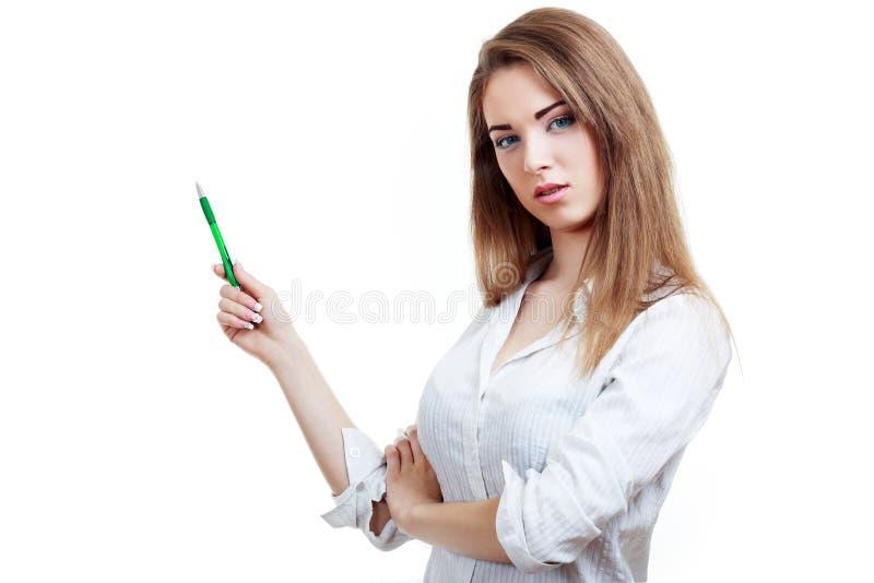 De vrouw toont iets stock fotografie