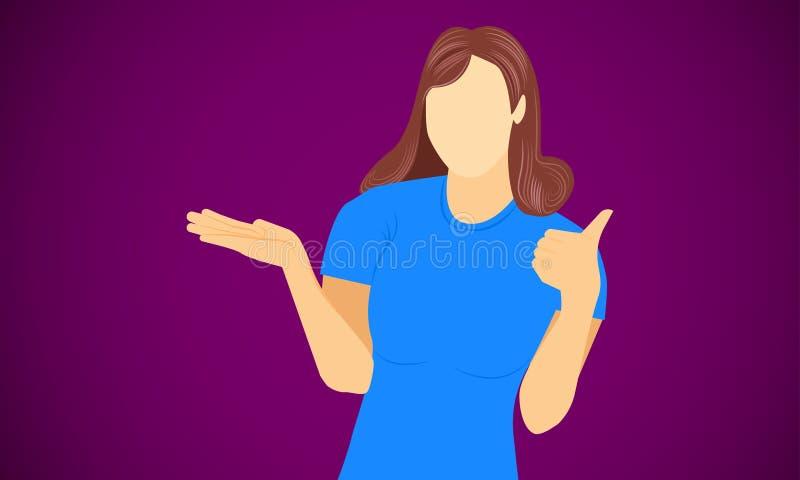 De vrouw toont linkerhand als voor gelukwens tevreden gelukkig blij en juist presentatieproduct Vector illustratie EPS10 royalty-vrije illustratie
