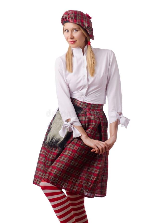 De vrouw in traditionele Schotse kleding stock afbeelding