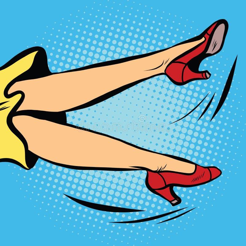 De vrouw valt of golvend zijn benen royalty-vrije illustratie